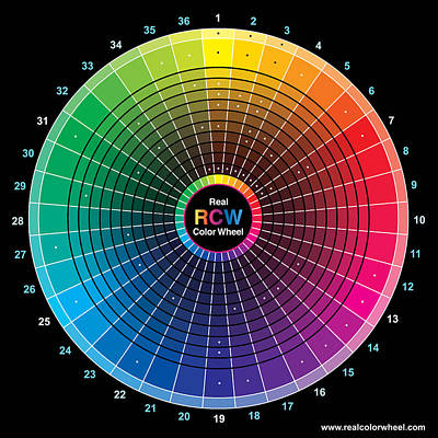 Real Color Wheel - 54 Pigments Art Print by Don Jusko