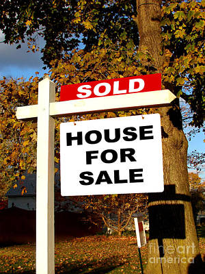 Photograph - Real Estate Sold And House For Sale Sign On Post by Olivier Le Queinec