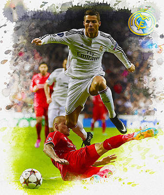 Cristiano Ronaldo Digital Art - Real Madrid's  Forward Cristiano Ronaldo With Liverpool's  Defen by Don Kuing