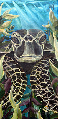 Sea Turlte Painting - Real Turtle by Robert Schippnick
