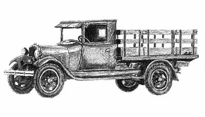 Chevrolet Truck Drawing - Real Work Truck - 1929 Ford Stake Truck by Currie Smith