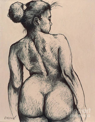 Drawing - realistic nude figure drawing - Katja on Beige by Sharon Hudson