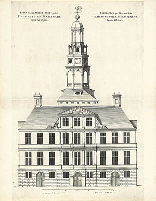 Maastricht Drawing - Rear Of The Town Hall Of Maastricht The Netherlands by Quint Lox