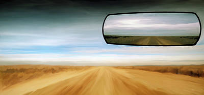 Panoramic Digital Art - Rear View Mirror by Leland D Howard