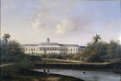 Rear View Drawing - Rear View Of Buitenzorg Palace Before The Earthquake Of 10 by Litz Collection