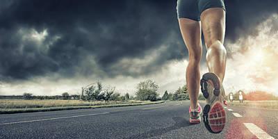 Rear View Of Runners Legs Art Print by Peepo