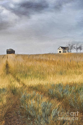 Photograph - Old Farmhouse On The Hill/ Digital Painting by Sandra Cunningham