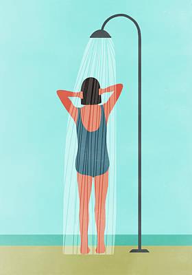 Digital Art - Rear View Of Woman Having Outdoor by Malte Mueller