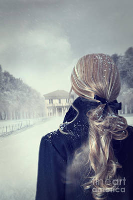 Photograph - Rear View Of Woman With Long Hair In Winter Scene by Sandra Cunningham