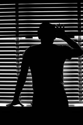 Venetian Blinds Photograph - Rear View Silhouette Of Anonymous Man by Vintage Images