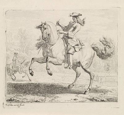 Rearing Horse With Rider, Dirk Maas Art Print