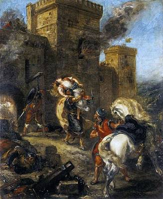 Kidnap Painting - Rebecca Kidnapped By The Templar by Eugene Delacroix