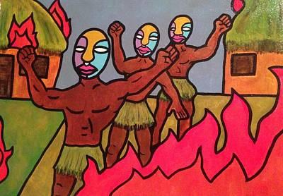 Indian Tribal Art Painting - Rebellion by Eddie Pagan