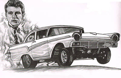 James Dean Drawing - Rebels-063 by Keith Spence
