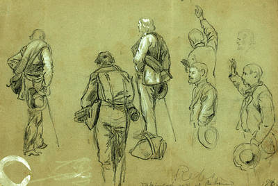 Taking Oath Drawing - Rebs Taking The Oath At Richmond, 1865 April-may, Drawing by Quint Lox