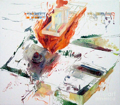 Holy Alphabet Painting - Rebuilding 2 by David Baruch Wolk