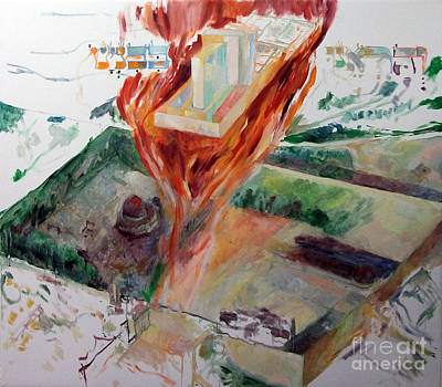 Holy Alphabet Painting - Rebuilding 3 by David Baruch Wolk