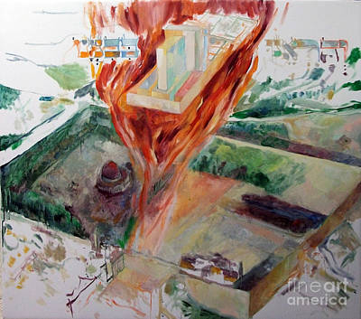 Holy Alphabet Painting - Rebuilding 4 by David Baruch Wolk