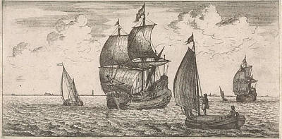 North Sea Drawing - Receipt Of The Post At Sea, Jacob Quack, Jan Houwens by Jacob Quack And Jan Houwens I