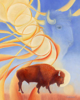 Bison Drawing - Receiving Buffalo by Robin Aisha Landsong