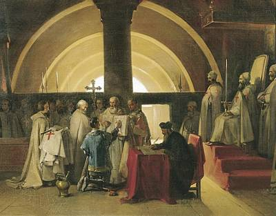 Reception Of Jacques De Molay . 1840s Art Print by Everett