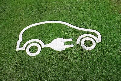 Rechargeable Electric Car Symbol Art Print