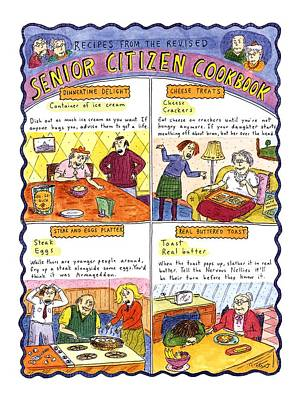 Cookbooks Drawing - Recipes From The Revised Senior Citizen Cookbook by Roz Chast