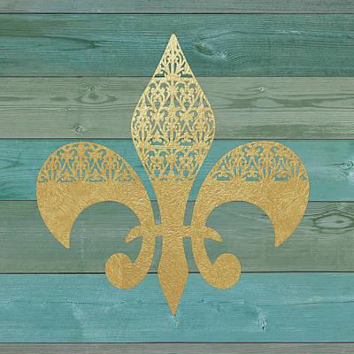 Fleur De Lis Painting - Reclaimed Wood Fleur De Lis by Jo Moulton