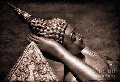 Golden Digital Art - Reclining Buddha by Adrian Evans