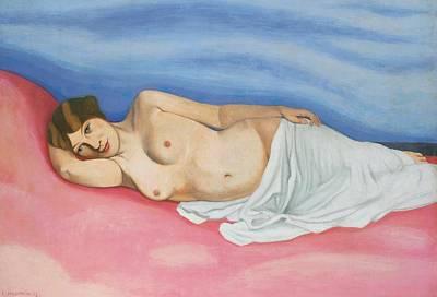 Reclining Female Nude Art Print by Felix Edouard Vallotton