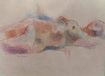 Pastel - Reclining Figure by Frank Daniell