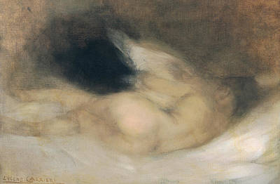 Boudoir Painting - Reclining Nude by Eugene Carriere