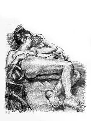 Grayscale Drawing - Reclining Nude Female Charcoal Drawing by Adam Long