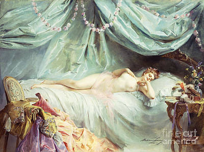Bedside Painting - Reclining Nude In An Elegant Interior by Madeleine Lemaire