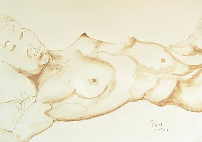 Sepia Ink Drawing - Reclining Nude In Walnut Ink by Rand Swift