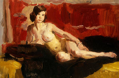 Isaac Painting - Reclining Nude by Isaac Israels