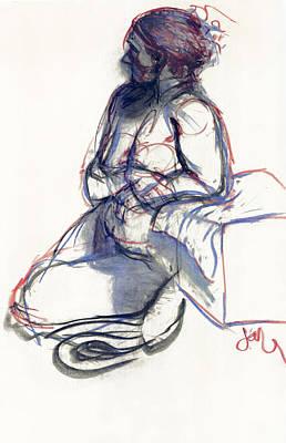 Stillness Drawing - Reclining Nude by Jordan Kirschner