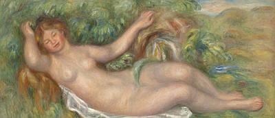 Source Painting - Reclining Nude La Source by Pierre Auguste Renoir