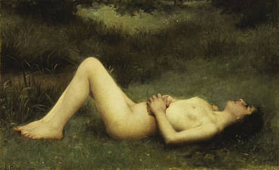 Outdoor Nude Painting - Reclining Nude by Louis Courtat