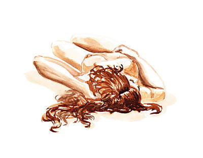 Reclining Nude Model Gesture Xv Under The Sun  Art Print by Irina Sztukowski