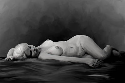 Topless Painting - Reclining Nude by Shelby