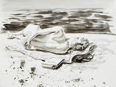 Ocean Scenes Drawing - Reclining Nude Study Resting At The Beach by Irina Sztukowski