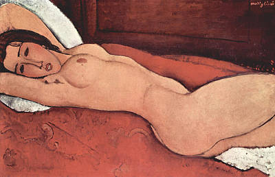 Bed Painting - Reclining Nude With Arms Behind Her Head by Amedeo Modigliani