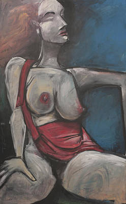 Abstract Purse Painting - Reclining Nude With Red Purse by Tim Nyberg