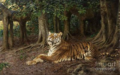 Fauna Painting - Reclining Tiger by Pg Reproductions