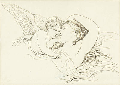 Pi Drawing - Reclining Venus With Cupid, David Pièrre Giottino Humbert by Quint Lox