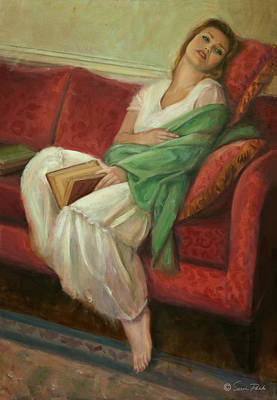 Persian Carpet Painting - Reclining With Book by Sarah Parks