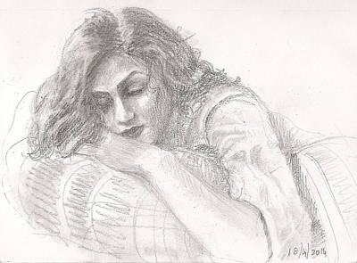 Drawing - Reclining Woman by Asha Sudhaker Shenoy