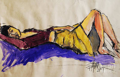 Legs Mixed Media - Reclining Woman - Pia #5 - Figure Series by Mona Edulesco