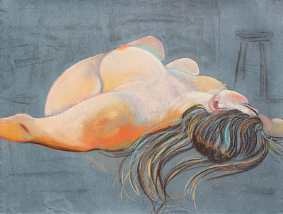 Pastel - Reclining Woman With Stuido Stool by Asha Carolyn Young